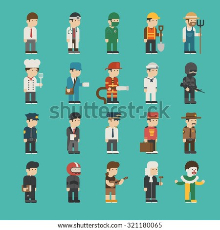 Set of profession characters , eps10 vector format - stock vector