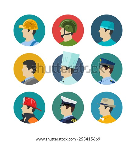 Set of profession icons isolated in circle. Soldiers and builder, fireman and a cook, a doctor and captain. Vector illustration - stock vector