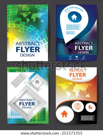 set of Professional business flyer template, brochure or cover design or corporate banner design for publishing, print and presentation. EPS 10. - stock vector