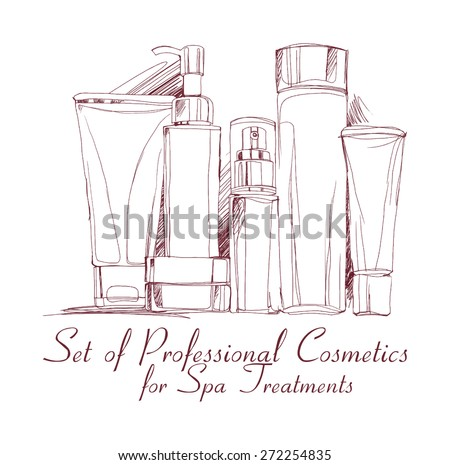 set of professional cosmetics for spa treatments drawn handle by hand. vector illustration for your design. Blank cosmetic tubes on white background. - stock vector