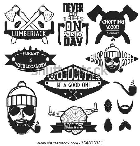 Set of Professional Lumberjack/Woodcutter Symbols and Emblems. - stock vector