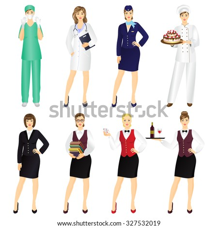 Set of professional women in uniform isolated on white background. - stock vector