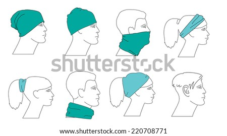 set of profile faces with different hats - stock vector