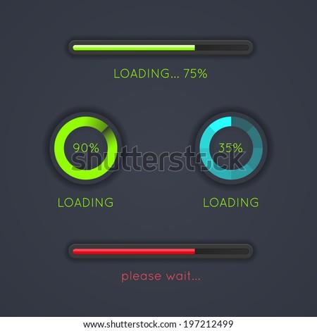 Set of progress loading bars on dark background. EPS10. - stock vector