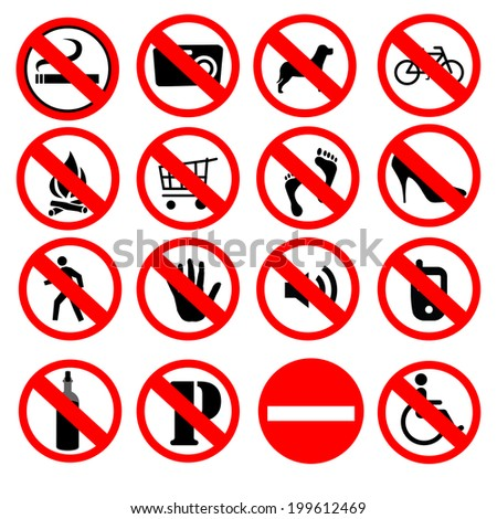 Set of prohibited signs,vector illustration