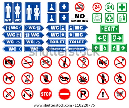 Set of prohibition signs and signals for indoors navigation in vector - stock vector