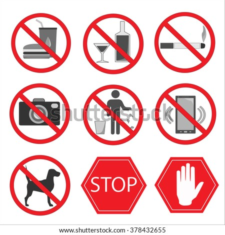 Set of prohibition signs. Don't eat, no alcohol, no smoking, no photography allowed, don't litter, calls prohibited, no dogs, stop, hand. Vector illustration. - stock vector