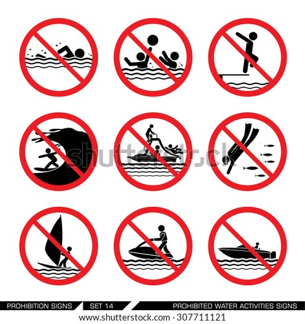 Set of prohibition signs for water activities. Collection of pictogram signs that ban dangerous actions at the sea. Vector illustration.   - stock vector