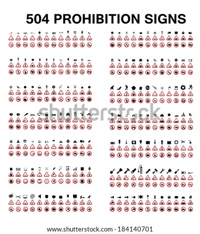 Set of Prohibition Signs. Vector Illustration - stock vector