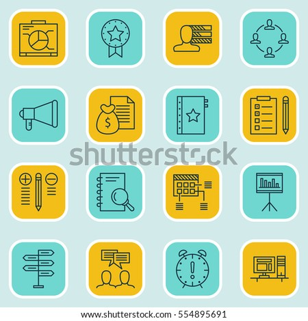 Set Of 16 Project Management Icons. Includes Discussion, Presentation, Personal Skills And Other Symbols. Beautiful Design Elements.