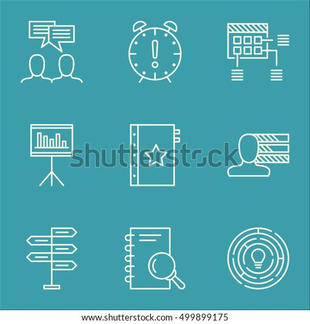 Set Of Project Management Icons On Analysis, Opportunity And Presentation Topics. Editable Vector Illustration. Includes Statistics, Idea And Presentation Vector Icons.