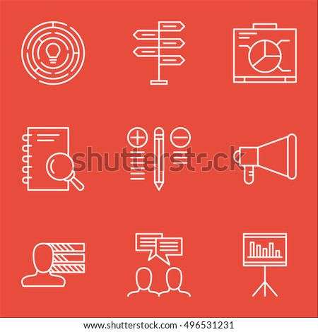 Set Of Project Management Icons On Board, Presentation, Analysis And More. Includes Board, Decision Making, Analysis And Other Vector Icons.