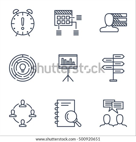 Set Of Project Management Icons On Collaboration, Schedule And Personal Skills Topics. Editable Vector Illustration. Includes Brainstorm, Team And Fork Vector Icons.