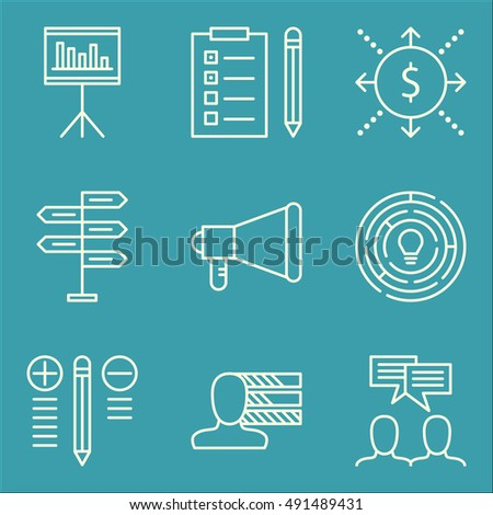 Set Of Project Management Icons On Creativity, Task List, Personality And More. Premium Quality EPS10 Vector Illustration For Mobile, App, UI Design.