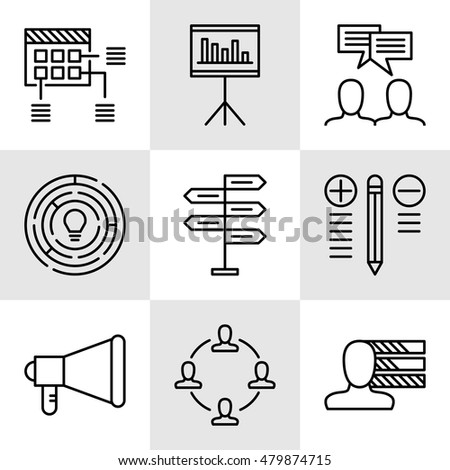 Set Of Project Management Icons On Decision Making, Personality And Team Meeting. Project Management Vector Icons For App, Web, Mobile And Infographics Design.