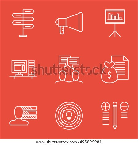 Set Of Project Management Icons On Discussion, Opportunity, Computer And More. Includes Report, Decision Making, Presentation And Other Vector Icons.