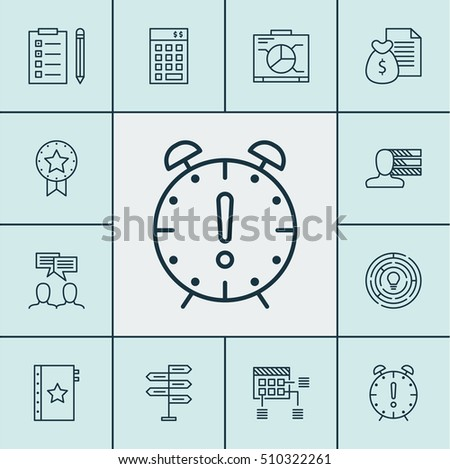 Set Of Project Management Icons On Investment, Reminder And Present Badge Topics. Editable Vector Illustration. Includes Budget, Brainstorming, Reminder And More Vector Icons.