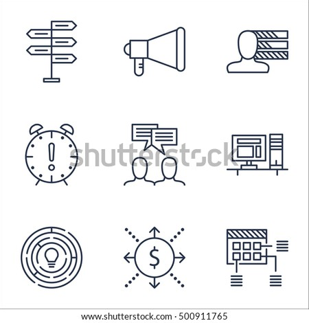 Set Of Project Management Icons On Money, Personal Skills And Time Management Topics. Editable Vector Illustration. Includes Advertising, Plan And Time Vector Icons.