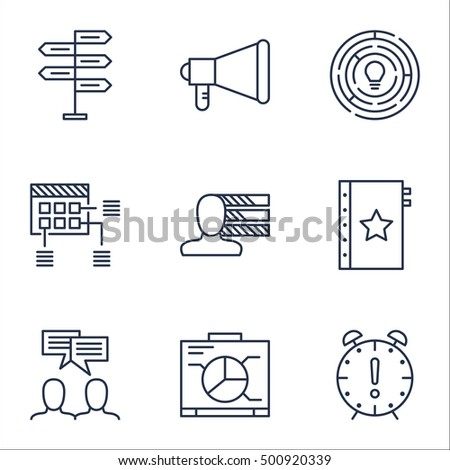 Set Of Project Management Icons On Opportunity, Announcement And Personal Skills Topics. Editable Vector Illustration. Includes Dashboard, Personality And Fork Vector Icons.