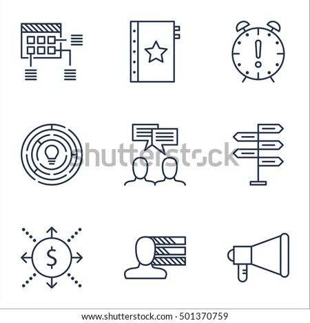 Set Of Project Management Icons On Personal Skills, Announcement And Warranty Topics. Editable Vector Illustration. Includes Time, Fork And Decision Vector Icons.