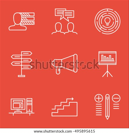 Set Of Project Management Icons On Presentation, Computer, Innovation And More. Includes Opportunity, Decision Making, Announcement And Other Vector Icons.