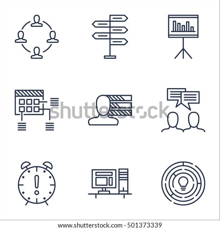 Set Of Project Management Icons On Presentation, Discussion And Innovation Topics. Editable Vector Illustration. Includes Deadline, Collaboration And Brainstorm Vector Icons. Stock Vector Icon.
