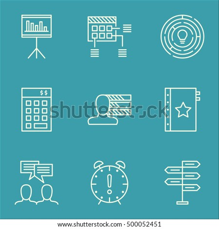 Set Of Project Management Icons On Presentation, Investment And Opportunity Topics. Editable Vector Illustration. Includes Time, Brainstorm And Statistics Vector Icons.