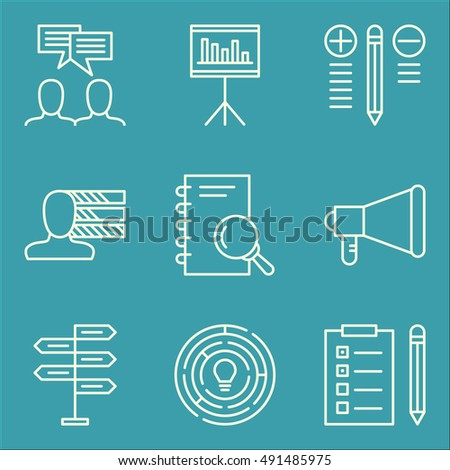 Set Of Project Management Icons On Statistics, Decision Making, Team Meeting And More. Premium Quality EPS10 Vector Illustration For Mobile, App, UI Design.