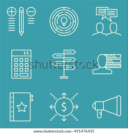 Set Of Project Management Icons On Team Meeting, Cash Flow, Creativity And More. Premium Quality EPS10 Vector Illustration For Mobile, App, UI Design.
