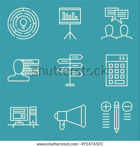 Set Of Project Management Icons On Team Meeting, Promotion, Statistics And More. Premium Quality EPS10 Vector Illustration For Mobile, App, UI Design.