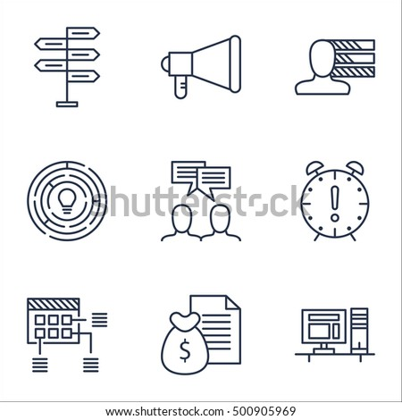 Set Of Project Management Icons On Time Management, Innovation And Announcement Topics. Editable Vector Illustration. Includes Personal, Discussion And Plan Vector Icons.