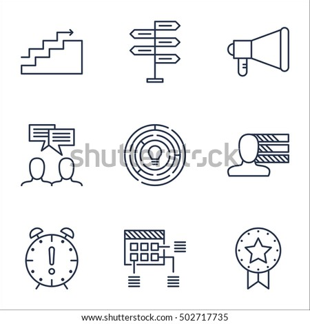 Set Of Project Management Icons On Time Management, Schedule And Personal Skills Topics. Editable Vector Illustration. Includes Meeting, Goal And Win Vector Icons.