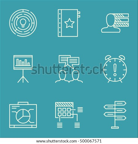 Set Of Project Management Icons On Warranty, Opportunity And Innovation Topics. Editable Vector Illustration. Includes Personality, Date And Chart Vector Icons.