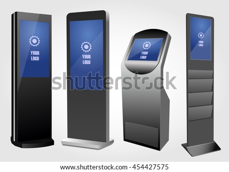 Set of  Promotional Interactive Information Kiosk, Advertising Display, Terminal Stand, Touch Screen Display. Mock Up Template. - stock vector