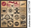 Set of promotional retro coupons, labels and tickets. Vector illustration on old paper background with stamp, seal and ribbon design elements. - stock vector