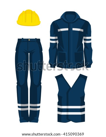 Set of protective wear, shoes and yellow safety helmet on white background
