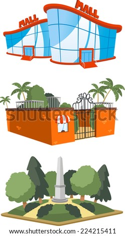 Set of 3 public building illustrations, including a mall, zoo and square vector illustration. - stock vector