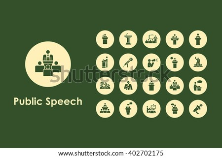 Set of public speech simple icons - stock vector