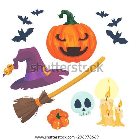 set of pumpkins, bats, hat and broom for Halloween - stock vector