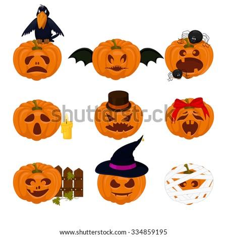 Set of pumpkins for Halloween - stock vector