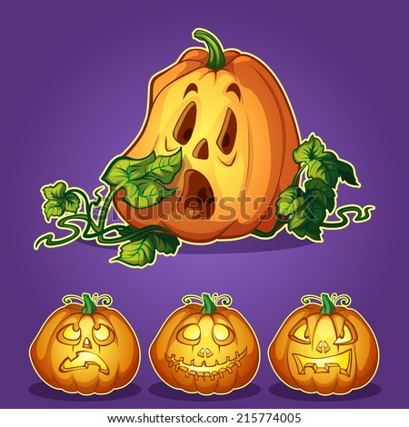 Set of pumpkins for Halloween on a dark background