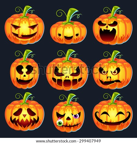 Set of pumpkins for Halloween with different faces: happy, angry, cute, scary. - stock vector