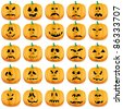 Set of pumpkins isolated on white, vector illustration - stock vector