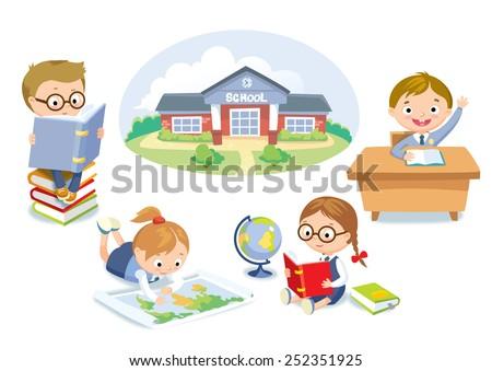 set of pupils and school building - stock vector