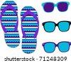Set of purple/blue flip-flops and sunglasses - stock vector