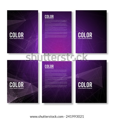 Set of Purple Modern Abstract Flyers  - EPS10 Brochure Design Templates - stock vector