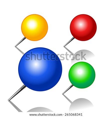 Set of push pins - stock vector