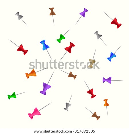 Set of push pins in different colors. Thumbtacks.  Vector illustration. Isolated on white background. - stock vector