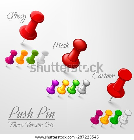 Set of push pins in different versions - stock vector