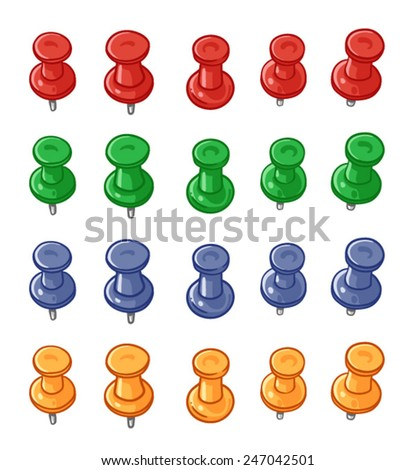 Set of push pins of various colors isolated on a white background